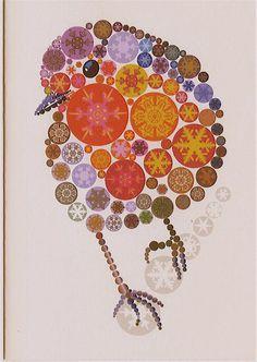bird art  made from paper circles