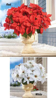 Poinsettia Bouquet Holiday Planter Picks - Set of 3