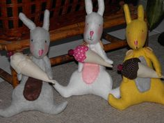BUNNY RABBITS and Ice Cream Cones Fabric Dolls by SherisShoppe, $49.99