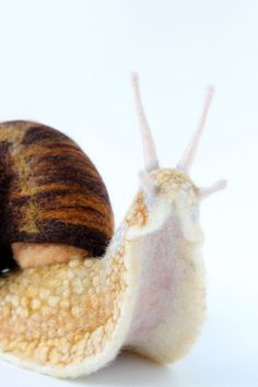 Needle Felted Land Snail Large Snail Sculpture by YvonnesWorkshop, $295.00