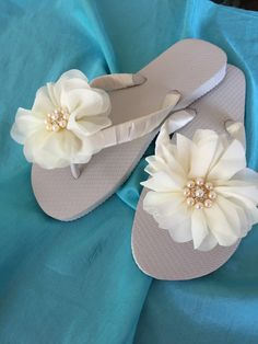 A personal favorite from my Etsy shop https://www.etsy.com/listing/231683047/bridal-flip-flopswedgeswedding-flip