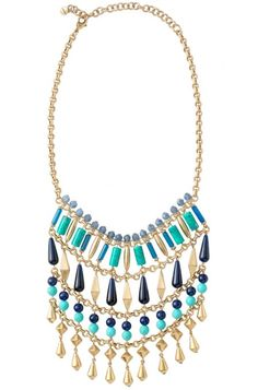 We love the summery feel of this statement necklace featuring blues inspired by the Indian Ocean | Malta Bib Statement Necklace