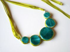 Statement necklace in shades of turquoise, jade and