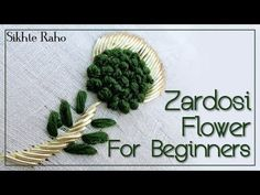 Hand Embroidery For Beginners Sikhte raho: Zardosi Work Flower Design For Beginners Hand Embroidery Flower Designs, Hand Embroidery Videos, Embroidery Stitches Tutorial, Shirt Embroidery, Embroidery For Beginners, Hand Embroidery Patterns, Beaded Embroidery, Indian Embroidery, Zardosi Work