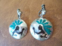 Sterling Silver 925 Stamped, Signed, Made in Mexico, Green Turquoise and Black…