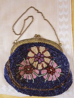 A 1920s or 30s Beaded Purse in Royal Blue Cream by RetroMama65, $175.00