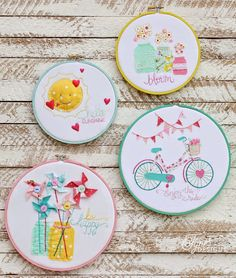 Trend Alert: Make Hoop Art! Maker tells how-to and posts stitch diagrams of crewel work and embroidery tutorial links, too. This craft is so darn cute with the colorful suns, hearts, bicycle, bunting, flowers, jars, and pinwheels!