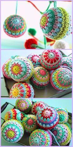 Crochet Christmas Bauble Ornament Free Patterns Knitting For BeginnersKnitting For KidsCrochet Hair StylesCrochet Ideas Crochet Christmas Decorations, Crochet Ornaments, Christmas Crochet Patterns, Holiday Crochet, Christmas Baubles, Crochet Gifts, Crochet Yarn, Doilies Crochet, Christmas Crafts