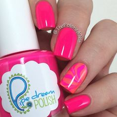 'on the list' by @ThePolishedOkie on Instagram #pipedreampolish #nails #nailpolish #indiepolish #glitter #neon www.pipedreampolish.com