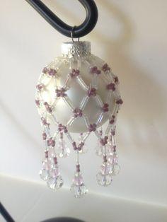 Lavender & White Beaded Christmas Ornament. $13.50, via Etsy.