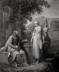 Phillip Medhurst presents John's Gospel: Bowyer Bible print 5332 Jesus and the woman of Samaria John 4:6-8 Hamilton on Flickr. A print from the Bowyer Bible, a grangerised copy of Macklin's Bible in Bolton Museum and Archives, England.