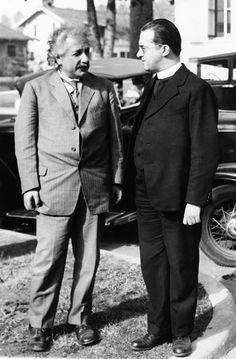 Mgr Georges Lemaître chats to Albert Einstein in California in 1932