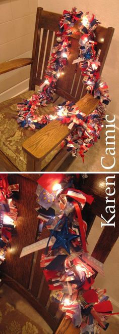 4th of July Rag Garland, made one of these but I still need to add the lights & a few Patriotic Ornaments to it.  LOVE it Karen!  You did a GREAT Job on yours!  :)