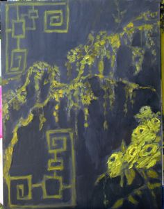 grey and yellow chinoiserie. $400.00, via Etsy.