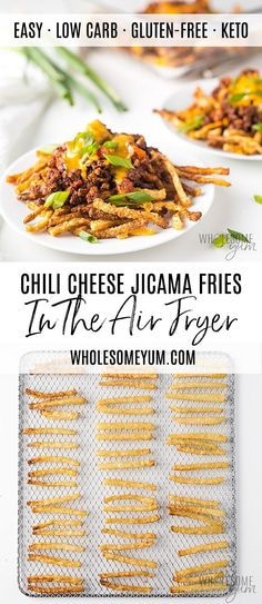 Keto Air Fryer Jicama Fries Recipe (Chili Cheese Fries!) - Learn how to make jicama fries in the air fryer! These crispy keto jicama fries are EASY to make. Top them with zesty chili and gooey cheese for a low carb meal.
