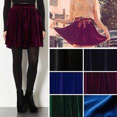 Vintage Velvet High Waist Stretch Pleated Jersey Plain Skater Flared Mini Skirt #Unbranded #Mini
