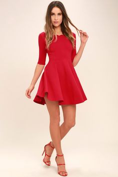 e6eccf8782 The Tip the Scallops Red Dress never fails to tip the scales in