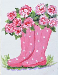 Pink Polka Dot Boot with Pink Roses - canvas painting Spring Painting, Garden Painting, Paris Painting, Painting Flowers, Wine And Canvas, Paint And Sip, Color Rosa, Paint Party, Pictures To Paint