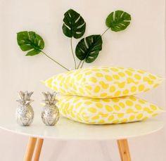 Bright and summery yellow polkadot cushion perfect by CitraHome