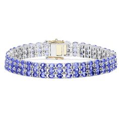 Effy Jewelry Sterling Silver with 14K Yellow Gold Lock Tanzanite... (3.700 DKK) ❤ liked on Polyvore featuring jewelry, bracelets, tanzanite jewelry, effy jewelry, tanzanite jewellery, sterling silver jewelry and sterling silver bangles