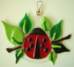 Fused Glass Ladybug Suncatcher by SmashinGlassGallery on Etsy