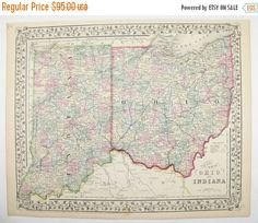 Antique Map of Ohio, Indiana Map 1871 Mitchell Map, 1st Anniversary Gift for Couple, Antique OH Map IN, Unique Office Gift for Coworker available at OldMapsandPrints.Etsy.com #Ohio #Indiana #MitchellOhioIndianaMap