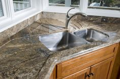 African Ivory Granite with Stainless Steel Dual Sink