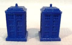 Set of 2 Miniature Blue Police Call Boxes Tardis Doctor Who Inspired Geek Nerd Kitsch Ornaments. $24.99, via Etsy.