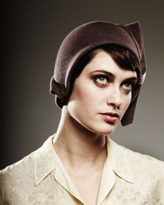 brown cloche with eggshell detail- made to order. $450.00, via Etsy.