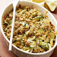 Gather up garden veggies, some fresh farmers market finds, and a handful of delicious toppings to create a fresh and flavorful summer casserole recipe. Just pop your easy summer casserole into the oven, and your one-dish dinner is ready to go! Dinner Casserole Recipes, Stuffing Casserole, Dinner Recipes, Dinner Ideas, Casserole Dishes, Sausage Recipes, Cooking Recipes, Healthy Recipes, Pasta Recipes