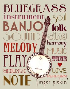 11X14 Banjo with Words Print