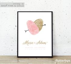 Fingerprint Wedding Guest Book Alternative Thumbprint Guestbook Romantic Unique Pink and Gold Wedding Idea Alternate Creative Guest Poster