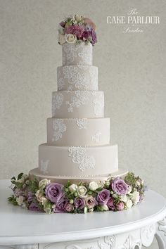 Lace Wedding Cakes Cord Lace cake Lace has been in fashion ever since Kate Middleton walke - The Independent - Forget love and happiness - these multi-tier marvels are reason enough to get hitched this summer. Floral Wedding Cakes, Wedding Cake Designs, Wedding Decor, Wedding Cake Lace, Wedding Blog, Post Wedding, Floral Cake, Purple Wedding, Spring Wedding