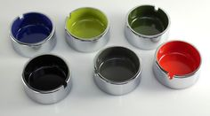 Vintage Ashtrays Set of 6 Chrome Melamine Isamu Kenmochi Circa 60s 70s Japan | eBay