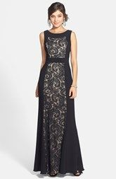 floor length black dress with lace, slimming - JS Collections Ottoman & Lace Scoop Back Gown