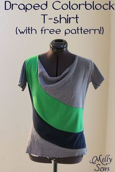 Draped Colorblock T-shirt with free pattern by Melly Sews
