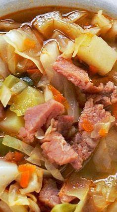 Ham and Cabbage Soup ❊ cabbage recipes Cooker Recipes, Crockpot Recipes, Healthy Recipes, Healthy Cake, Ham Bone Recipes, Leftover Ham Recipes, Delicious Recipes, Cabbage Recipes, Chili Recipes