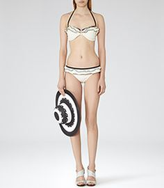 Atalanta T Cream/black Bandeau Bikini Top - REISS