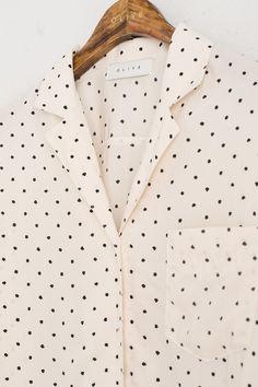 Folded Neckline Dotty Blouse, Ivory