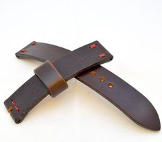 20mm solid leather dark brown watch strap handmade XL length