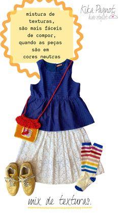 .dicas e truques para montar looks kids super descolados, usando o guarda-roupas. Summer Dresses, Mini, Fashion, Bedroom Cupboards, Summer Sundresses, Tips And Tricks, Colors, Style, Moda