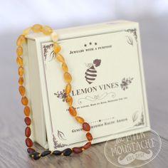 Amber Teething Necklace Rainbow - Unpolished (28cm) Lemon Vines The Milk Moustache - 1