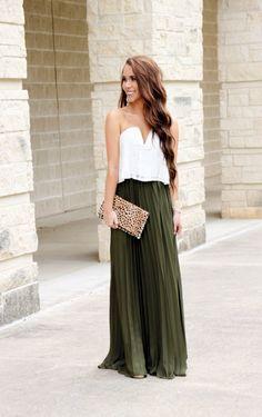 Olive Pleated Maxi Skirt Under $30 - Sunshine & Stilettos Blog (Instagram: @katlynmaupin