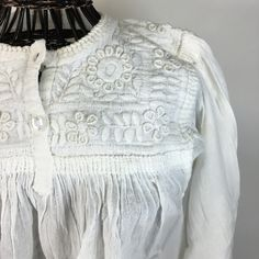 White on White Embroidered Long Sleeve Blouse