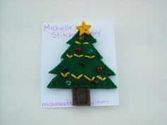 Christmas Tree Felt Brooch by michellesstitches on Etsy