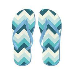 Teal and off white #zigzag Flip Flops #Zandiepants #flipflops
