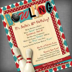 Bowling Party Customized Printable Invitation By CheBellaCarta 1200 Invitations Favors