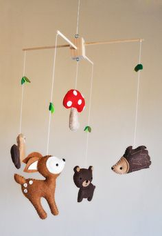 Hanging Whimsical Woodland Creatures Mobile - Deer, Bear, Squirrel, Porcupine, and Mushroom