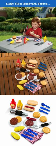 Little Tikes Backyard Barbeque Grillin' Goodies. Play food with backyard flavor! This play food set is perfect for pretend grills, kid's picnic tables and playhouses. Kids can pretend to have their own barbeque or picnic. It's grillin' time! This play barbecue set comes with two beefy burgers, two humongous hot dogs, veggies and condiments for the perfect pretend picnic lunch!Assembly Light AssemblyAge 3 years.