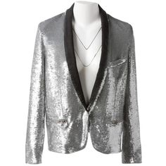 Pre-owned Iro Glitter Blazer ($201) ❤ liked on Polyvore featuring outerwear, jackets, blazers, silver, blazer jacket, silver blazer, glitter blazer, silver blazer jacket and glitter jacket